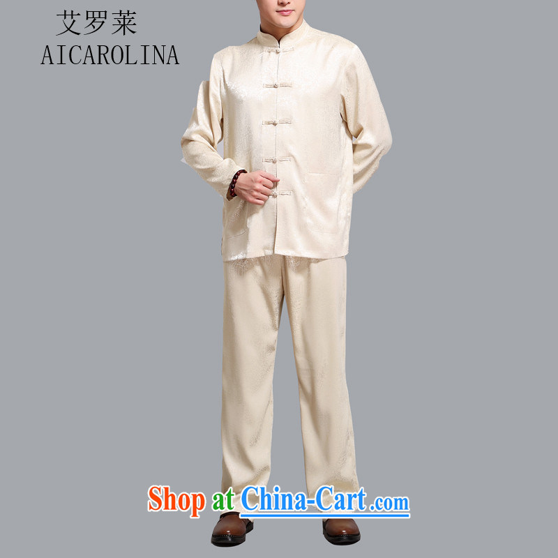 The middle-aged, male Chinese long-sleeved Kit father with Chinese shirt-tie China wind men's gold 4 XL
