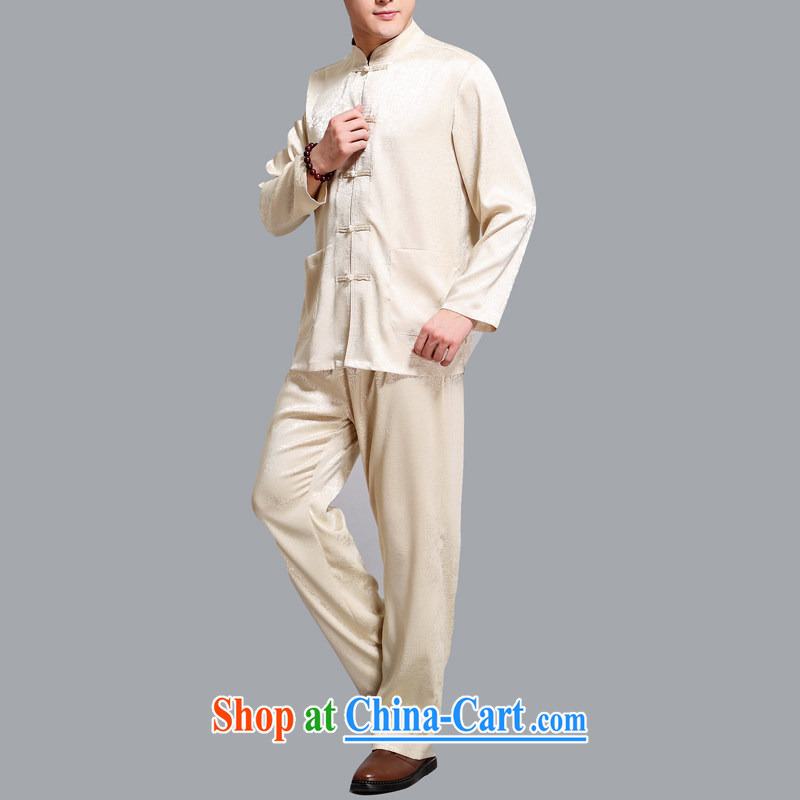 The middle-aged, male Chinese long-sleeved Kit father with Chinese shirt-tie China wind men's gold 4 XL, AIDS, Tony Blair (AICAROLINA), shopping on the Internet