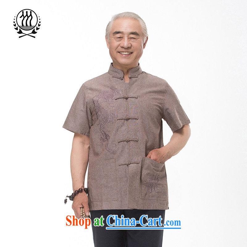 and mobile phone line 15 new summer Chinese men and replace the old summer-tang is short-sleeved dress boutique brown light gray optional tea color XXXL_190
