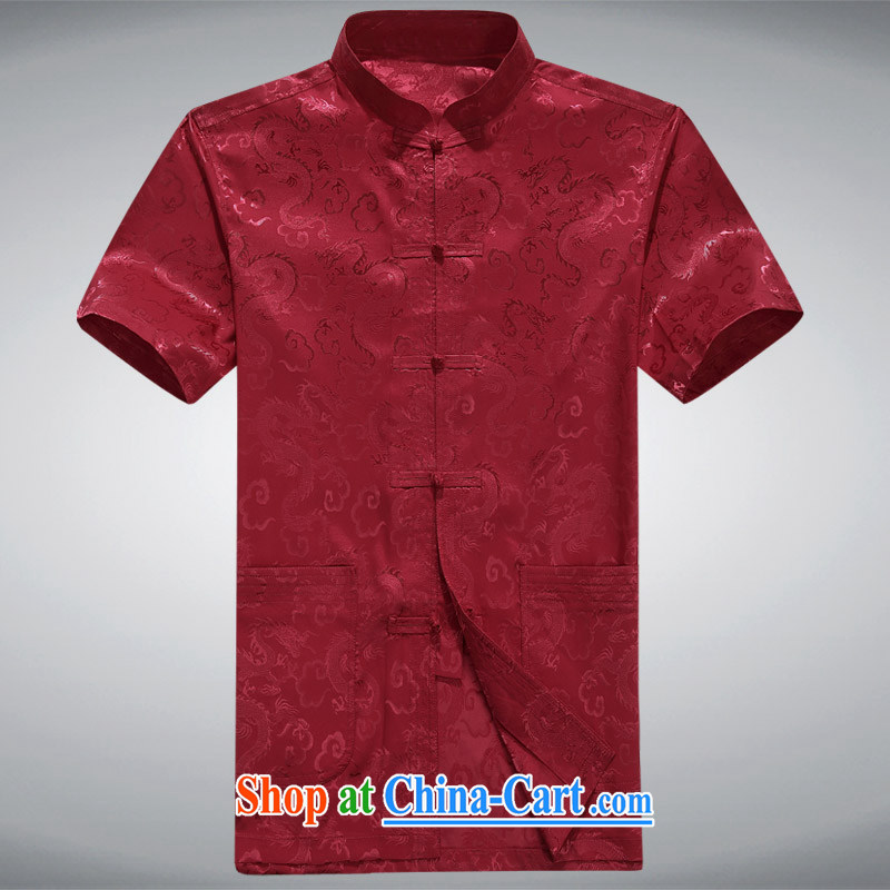 The chestnut mouse China wind middle-aged men Tang is short-sleeved, shirt collar, older men, summer T-shirt Casual Shirt red XXXL, the chestnut mouse (JINLISHU), shopping on the Internet