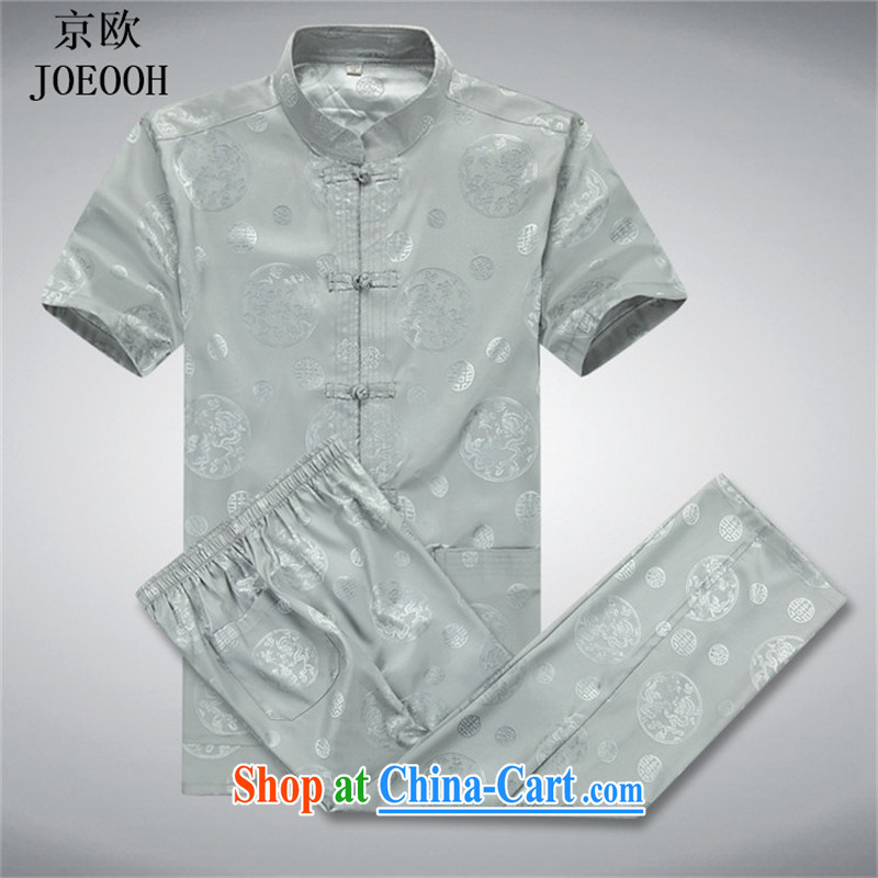 Putin's European men Tang package installed in the Men's elderly father with Ethnic Wind short-sleeved China wind male Chinese summer gray package XXXL