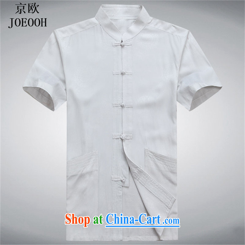 The Beijing China wind Cotton Men's Chinese men's summer short-sleeve Chinese T-shirt Chinese men's national costume, served the white XXXL
