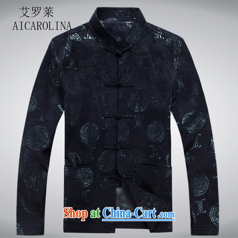 The Carolina boys National wind men Chinese men and Chinese wind-buckle spring loaded long-sleeved T-shirt in Spring and Autumn and older men's jackets blue XXXL