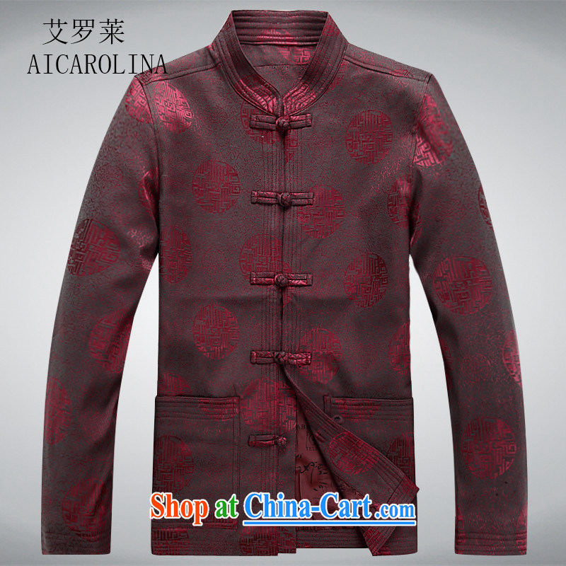 The Carolina boys older persons in Chinese men's long-sleeved T-shirt men's clothing, men's Chinese jacket coat old clothes red XXXL