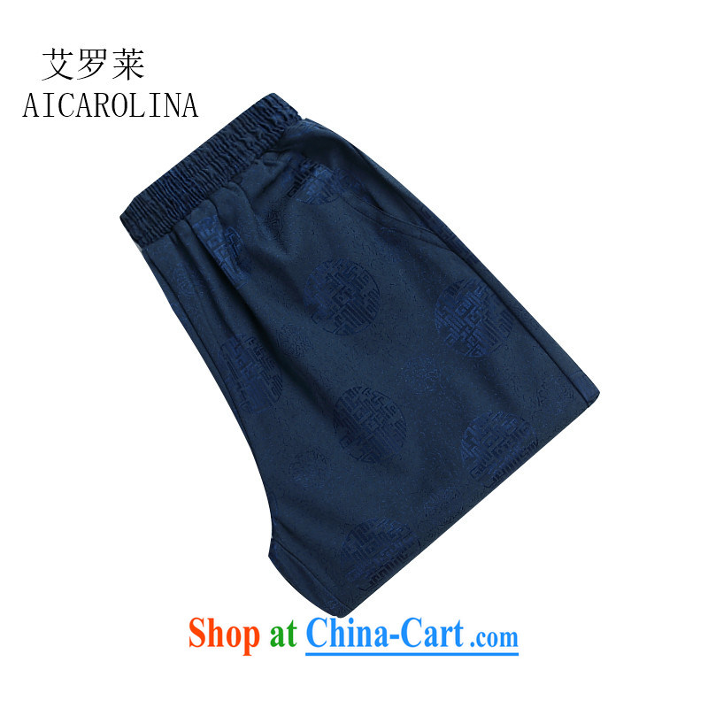 The Spring and Autumn Period, China wind men's short pants, older persons pants Chinese Grandpa pants blue 4 XL