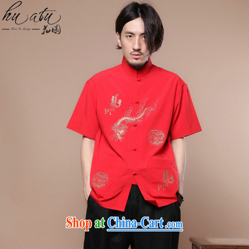 spend the summer with new, men's Chinese Chinese to flap Tai Chi uniforms, for Chinese dragon short sleeve male Chinese T-shirt such as the color 2 XL