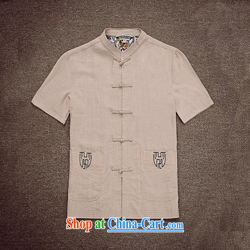 Dan Jie Shi (DANJIESHI) 2015 summer wear and stylish new short-sleeved shirt China wind-tie the Commission the open T-shirt casual Chinese and smock color 185/100