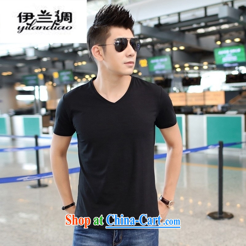 9 months female _ 2015 summer men's solid color V collar short-sleeve T-shirt men's leisure cultivating half sleeve T-shirts solid black 2 XL