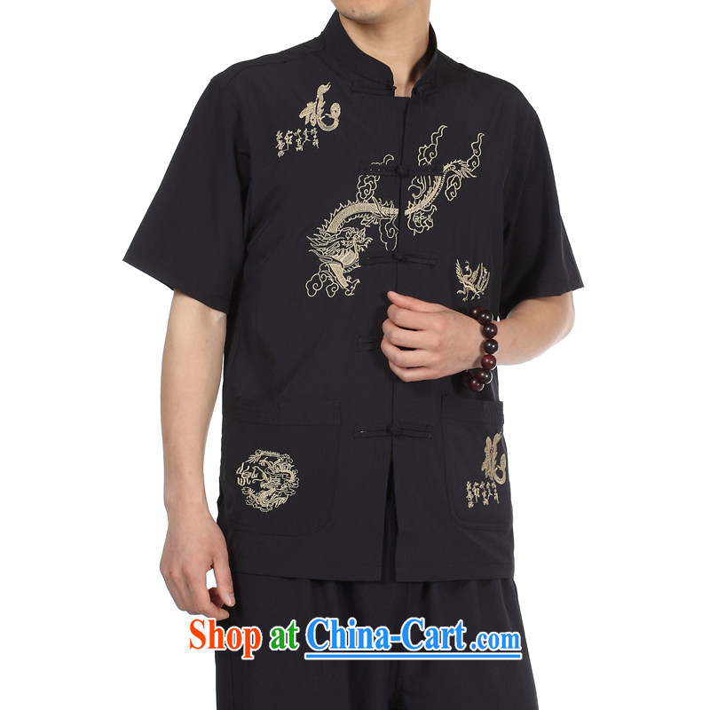 Kosovo card, men's spring and summer shirts fleece the fat shirt jacket youth in the old t-shirt men clothing T-shirt short-sleeved XP Chinese silk shirt, Cyan 42
