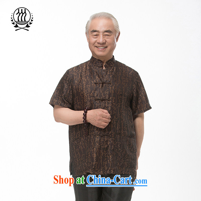 and mobile phone line short-sleeved short summer load new male fragrance cloud yarn and silk Tang replace short-sleeved shirt T-shirt, older men, Tang with the Shannon cloud yarn L_175