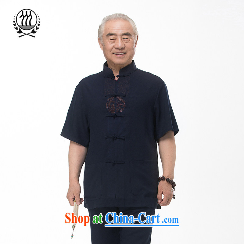 and mobile phone line 15 new summer Chinese male, older Chinese men and Chinese short-sleeved dress boutique blue beige light gray optional dark blue XXL_185