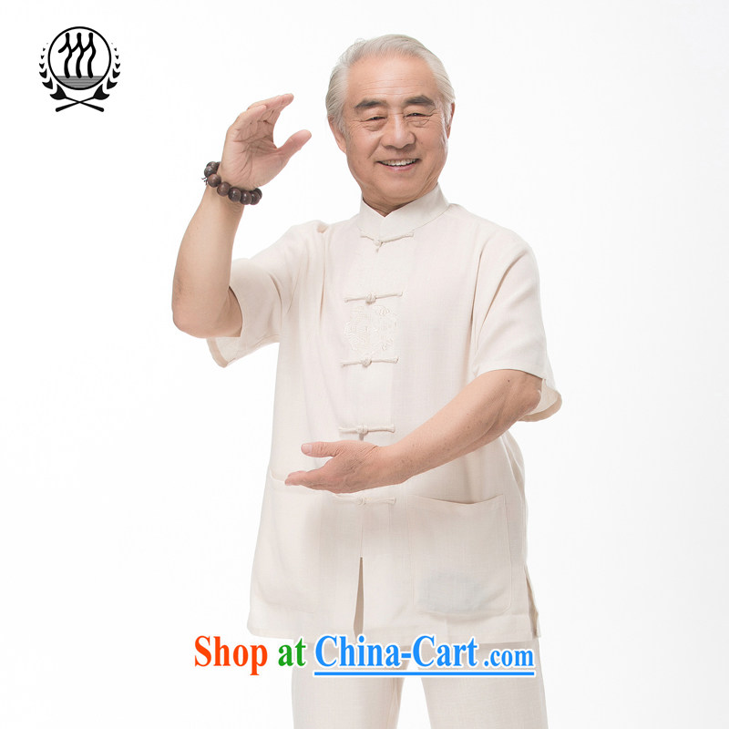 and mobile phone line Chinese package summer Chinese men and replace the old Chinese package short-sleeve dress boutique linen Tang replace light gray optional light yellow L_175