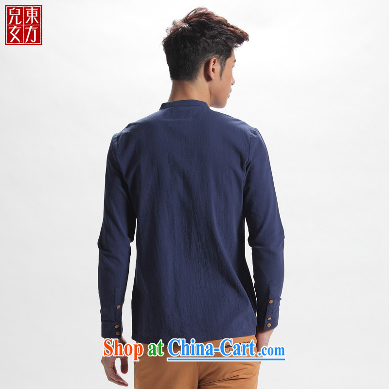 Oriental sons and daughters, for Zen shirt-tie dress China wind cotton men's long-sleeved Chinese shirt and royal blue XXXXL, Oriental children, shopping on the Internet