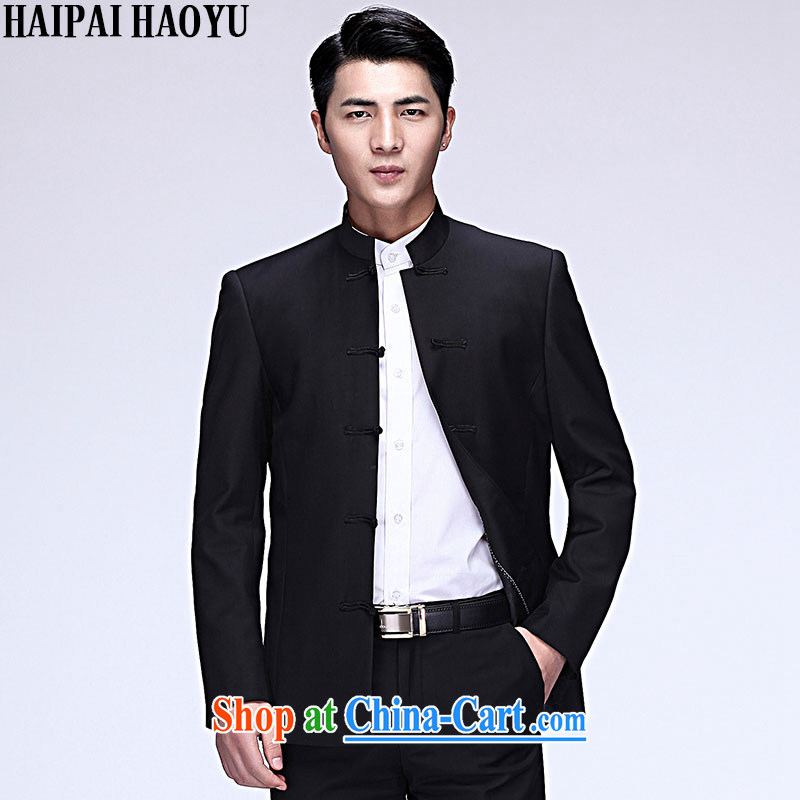 HAIPAIHAOYU China wind and China, brought suit men's Chinese Generalissimo cultivating business casual click jacket black Tang single T-shirt no long term XXXL/185