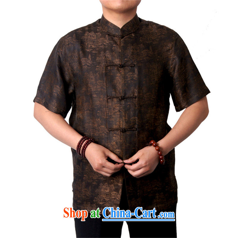 Sureyou new Chinese men and elderly in Hong Kong cloud yarn leisure short-sleeved, older Chinese, for breathable National Service Hong Kong cloud yarn, genuine 1518 brown 190, British, Mr Rafael Hui (sureyou), online shopping