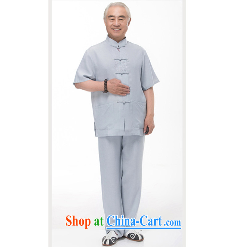 In summer the Chinese men's linen short-sleeve kit Ethnic Wind Tai Chi morning workout clothing shirt Dad loaded half sleeve cotton Ma Kit 968 Kit gray-blue XXL_185
