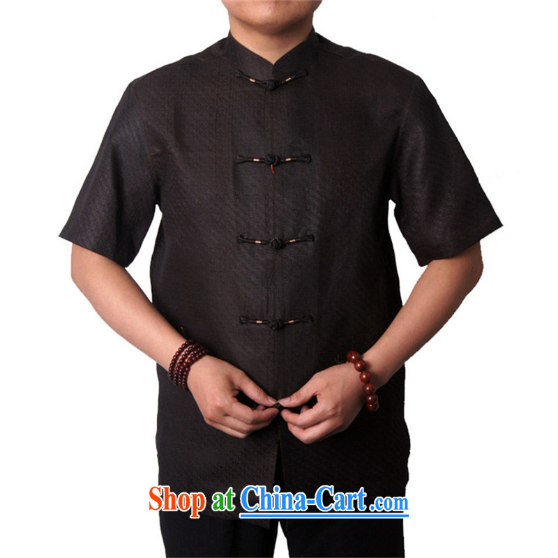 Summer Sureyou male Chinese Tang on national dress silk shirt Tang sauna silk damask, older short-sleeved fragrant cloud yarn upscale 1513 dark brown 190, Mr Rafael Hui (sureyou), online shopping