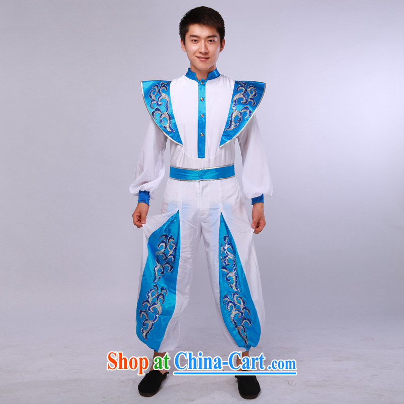 Men's modern dance costumes Han Chinese theatrical dance service annual service performance service blue-and-white 175/92 (L)