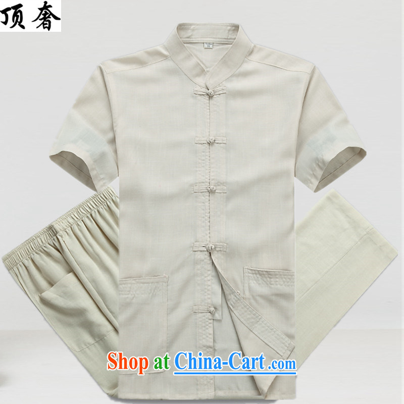 Top Luxury summer linen men's short-sleeved short T-shirt with older persons in Tang package installation of new units, the Tang is packaged in the old code Solid Color casual wear Han-M yellow Kit 41_180