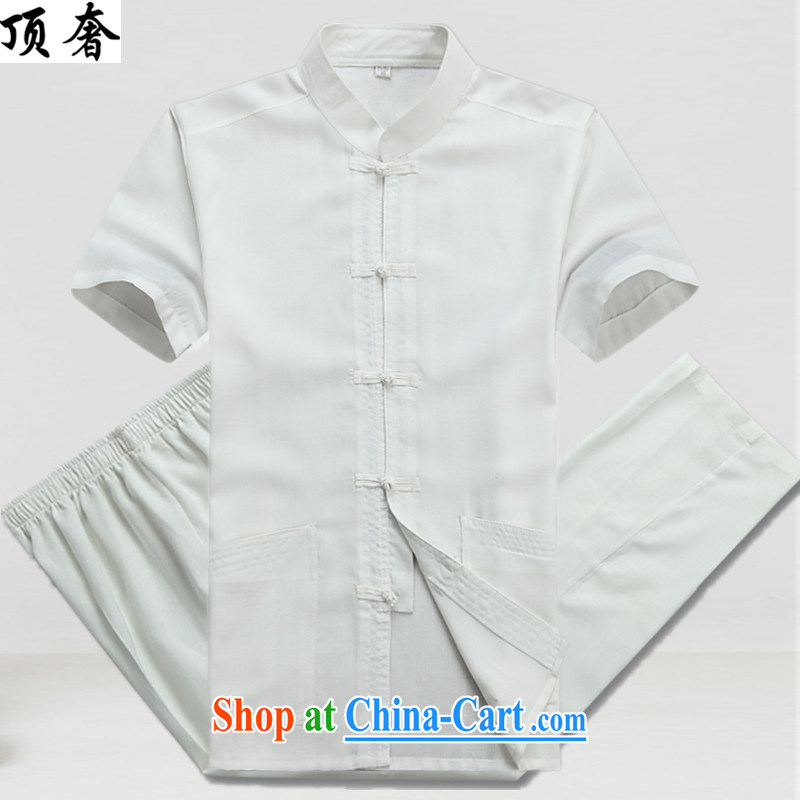 The top luxury Chinese men and Mr Ronald ARCULLI national costumes China wind Han-man and a short-sleeved Chinese men and Chinese wind national costume hand-tie and collar set the fat XL white Kit 43_190