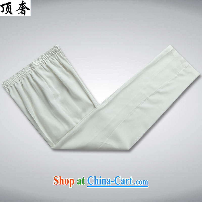 Top luxury Chinese men and ethnic minority clothing China wind, served both men and a short-sleeved Chinese men and Chinese wind national costumes hand-tie and collar set the fat XL white Kit 43/190, and the top luxury, shopping on the Internet
