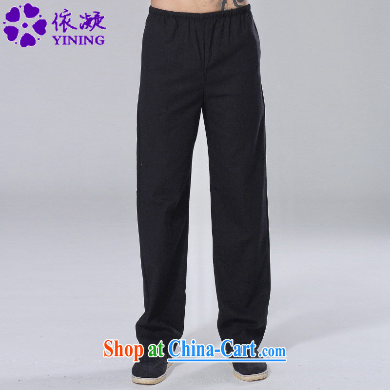 According to fuser new male Ethnic Wind improved Chinese pants Solid Color Elastic waist short pants LGD/P 0015 # -A black 2 XL