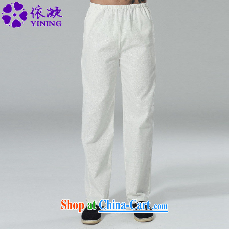 According to fuser New Men's solid color Elastic waist with short pants straight leg pants feet hushing Tai Chi trousers LGD/P 0014 #3 XL