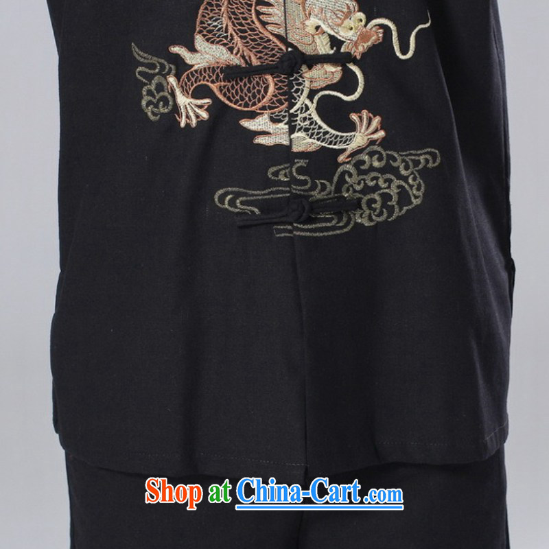 According to fuser summer new male Ethnic Wind improved shirt collar, single-button embroidered Dad replace short-sleeved Chinese T-shirt LGD/M 0057 #3 XL, fuser, and shopping on the Internet