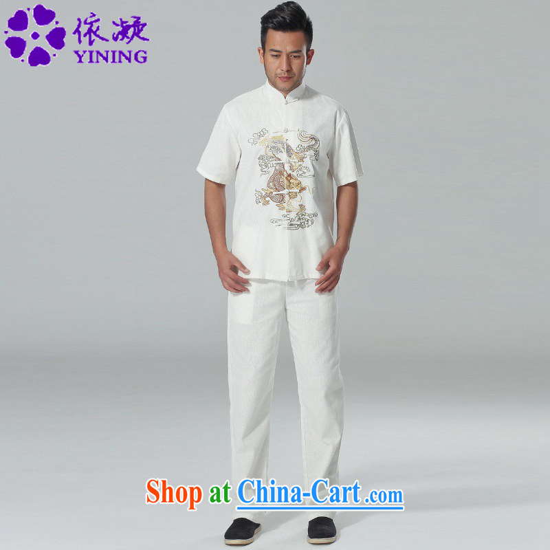 According to fuser summer new Chinese improved Tang replacing the collar embroidered shirt + pants short-sleeved Chinese package LGD_AB 0001_ white XL