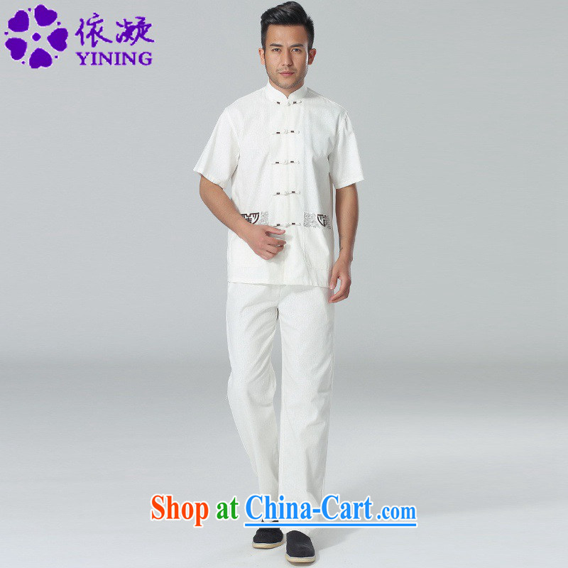In accordance with fuser summer men's new Tai Chi uniforms short sleeve embroidered shirt + pants father replace short-sleeved Tang replacing kit LGD_AB 0002 _3 XL