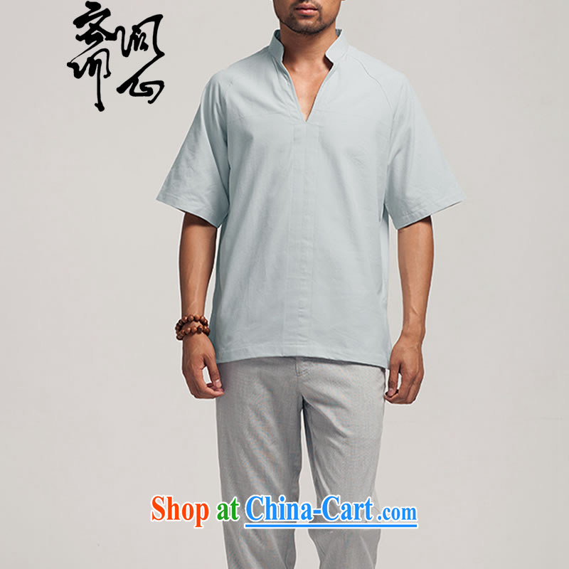 Ask a vegetarian (the health of spring, new Chinese men's cotton muslin, collared T-shirt 1385 light gray XXXL
