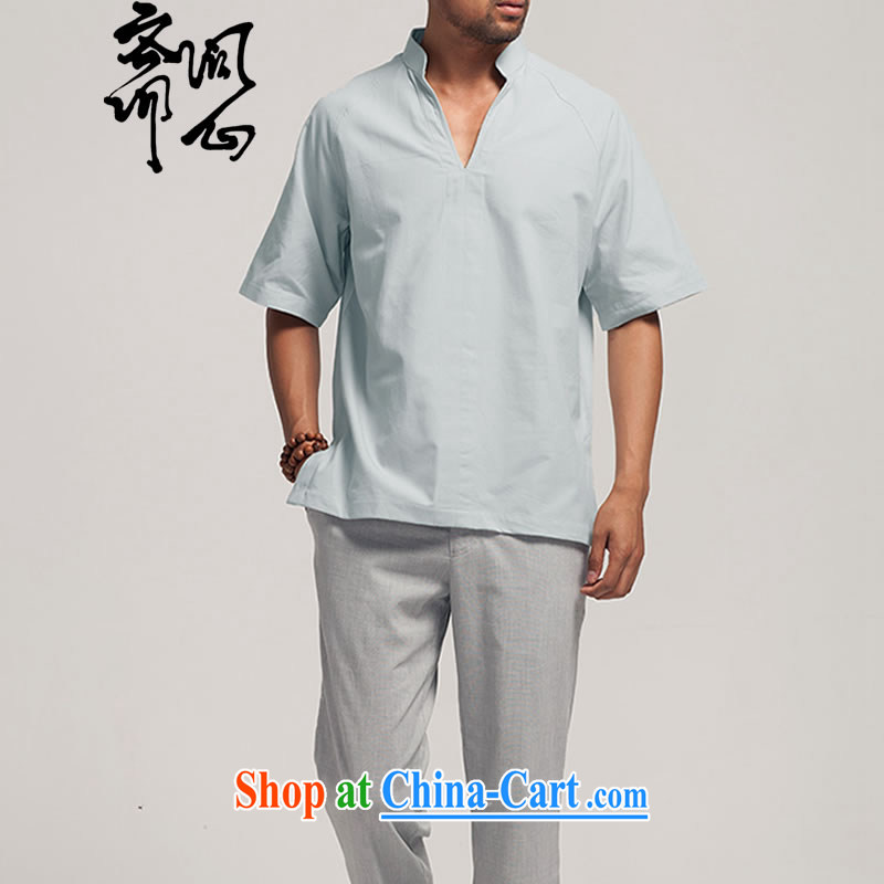 q heart Id al-Fitr (the health of spring, new Chinese men's cotton muslin, for T-shirt 1385 light gray XXXL, ask heart ID al-Fitr, shopping on the Internet