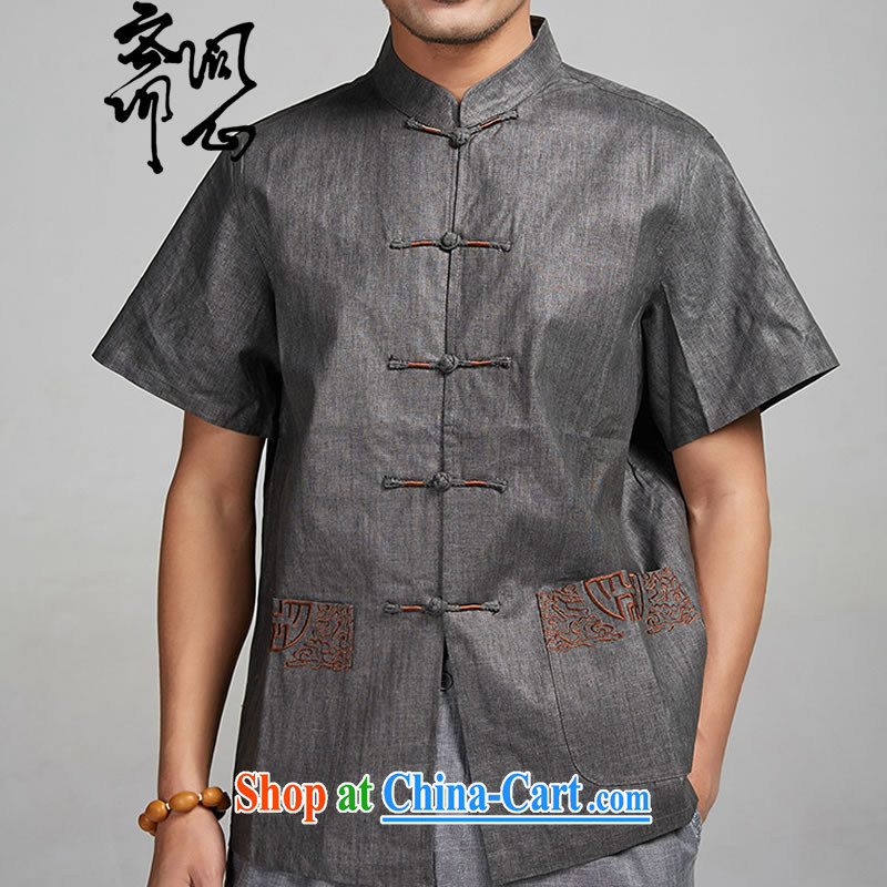 q heart Id al-Fitr (the Health men's summer new linen embroidery men's Chinese shirt 1399 dark gray XXXXL