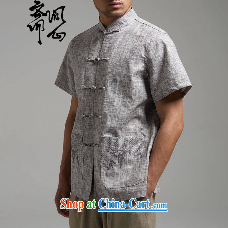 Ask a vegetarian _the health and new summer, the charge-back embroidery linen Chinese Chinese improved T-shirt 1421 gray XXXXL