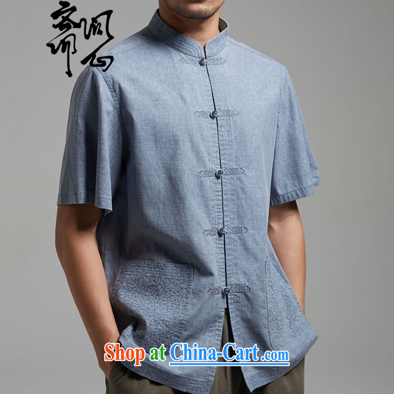 Ask a vegetarian _and as soon as possible, and new summer products embroidery t-shirt with short sleeves improved Tang fitted T-shirt 1440 gray-blue XXXL
