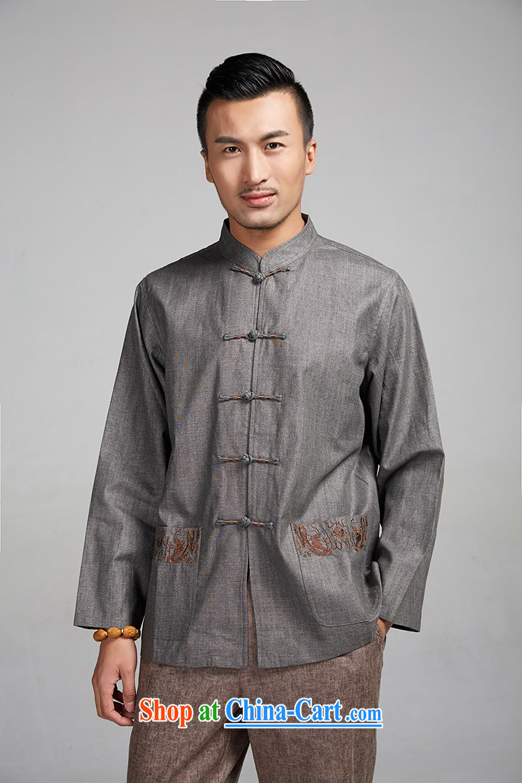 All elections Ramadan's mission as soon as possible and men's autumn new Chinese wind-tie, collar embroidery thin shirt 1505 beige XXXXL pictures, price, brand platters! Elections are good character, the national distribution, so why buy now enjoy more preferential! Health