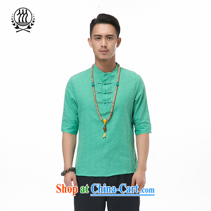 and Mobile Phone Line New Men's 7 sub-cuff cotton mA short-sleeved Chinese T-shirt Ethnic Wind fashion boutique men and the charge-back the collar cotton mA short-sleeved multi-color optional green XXXL/190
