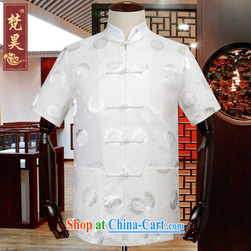 Van Gogh's annual Chinese men and summer short-sleeved silk older shirt large, male Chinese wind DS 518 white L