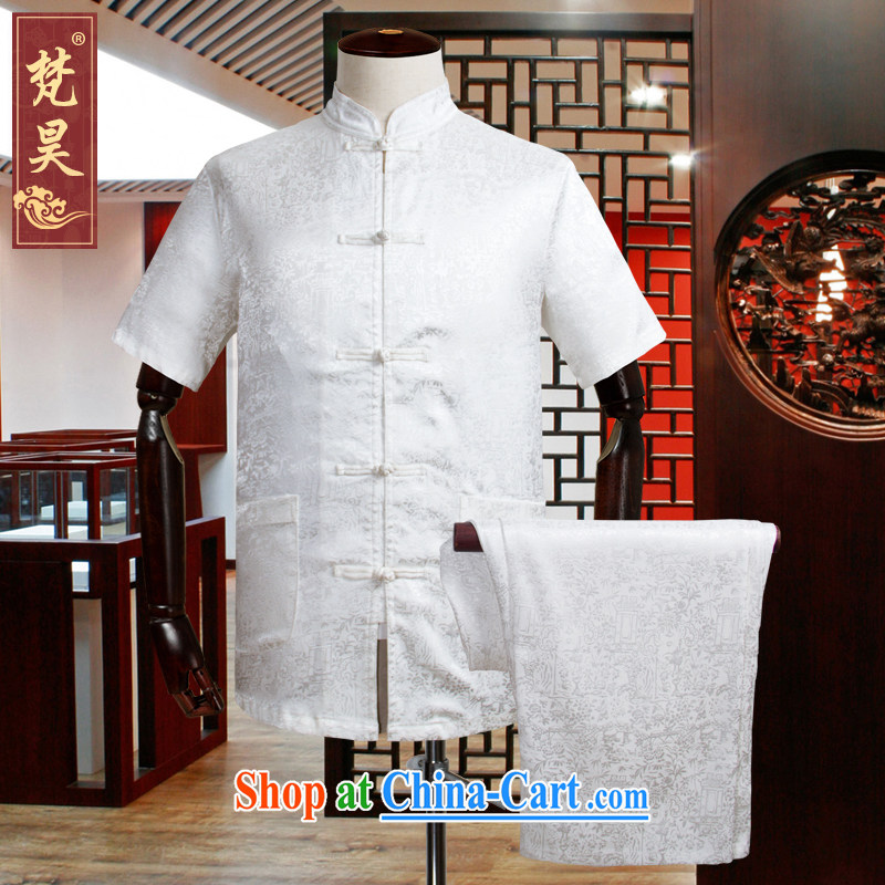 Van Gogh's annual 2015 New Silk Chinese men and short-sleeve kit, Old Silk shirt loose the Code, served half sleeve TDS 508 white XL