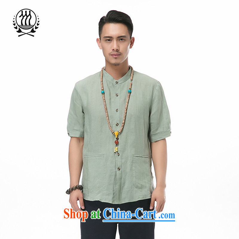 Summer New Products men's cotton the T-shirt with short sleeves Chinese, for men's coin cotton mA short-sleeved T-shirt Chinese wind men 7 cuff short-sleeved TANG How Much optional army green M/170