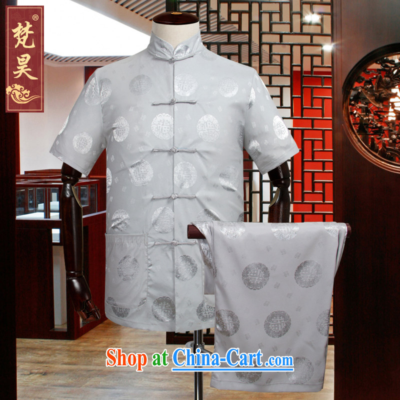 Van Gogh's new China wind Chinese male package older silk short-sleeved shirt larger TDS 518 gray 2 XL