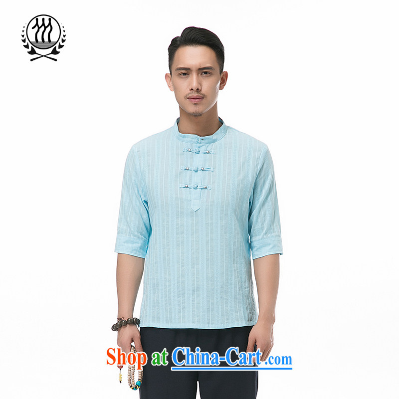 and mobile phone line summer new paragraph 7 sub-cuff Chinese cotton Ma short-sleeved Chinese men and head-tie 7 cuff cotton Ma short-sleeved T-shirt Chinese Wind and cotton for the short-sleeved multi-color optional blue XXXL_190