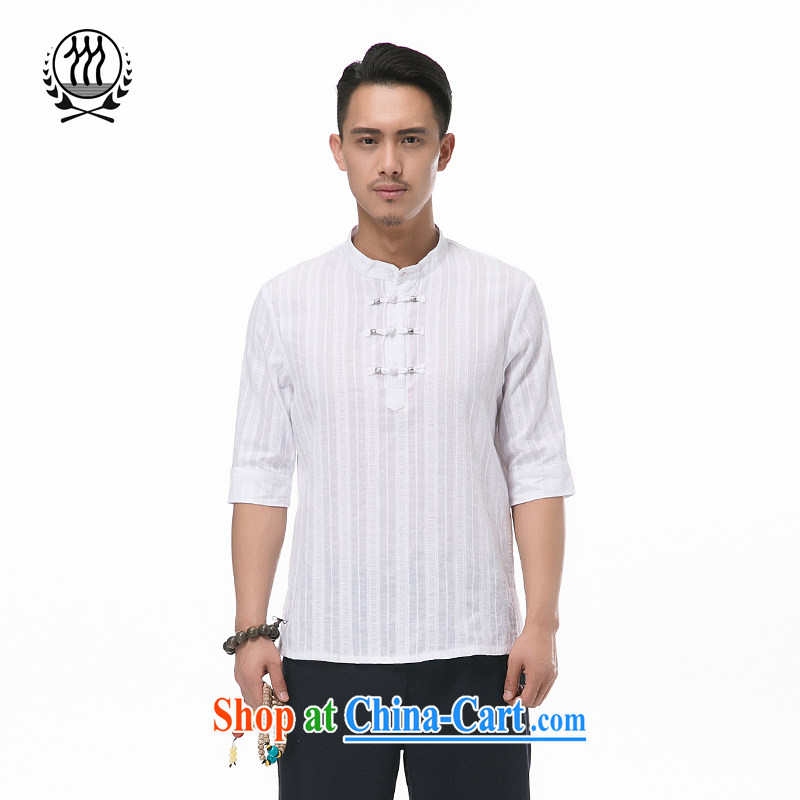 and mobile phone line summer new paragraph 7 sub-cuff Chinese cotton Ma short-sleeved Chinese men and head for the 7 sub-cuff cotton Ma short-sleeved T-shirt Chinese Wind and cotton for the short-sleeved multi-color optional blue XXXL/190, and mobile phon