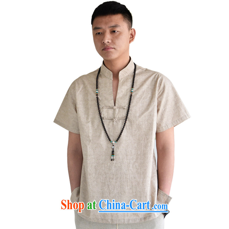 Hill People Movement China wind retro-tie Chinese shirt loose T-shirt short-sleeved shirt T Youth Summer of light gray XXL, at the foot of the mountains, sports, and shopping on the Internet