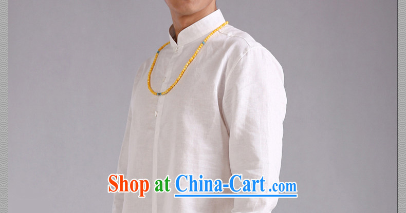 Only 3 Chinese wind is the beauty, linen collar shirt men and Chinese long-sleeved shirt improved Chinese style retreat, new, white, 170 / 88 A (M) The pictures, price, brand platters! Elections are good character, the national distribution, so why buy now enjoy more preferential! Health