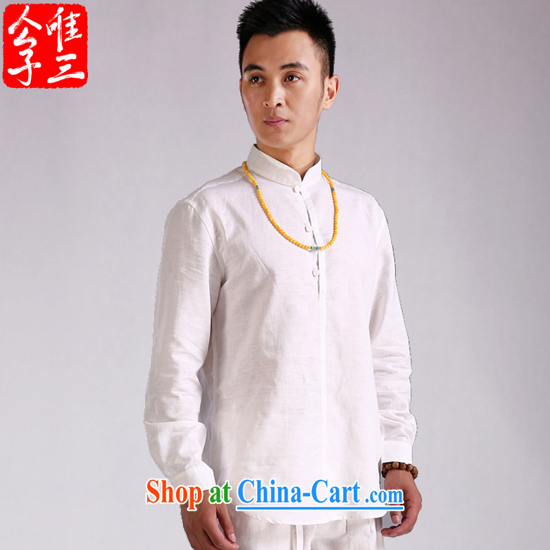 Only 3 Chinese wind is the beauty for the linen shirt men's Chinese long-sleeved shirt improved Chinese style retreat, new, white, 170 / 88 A (M)
