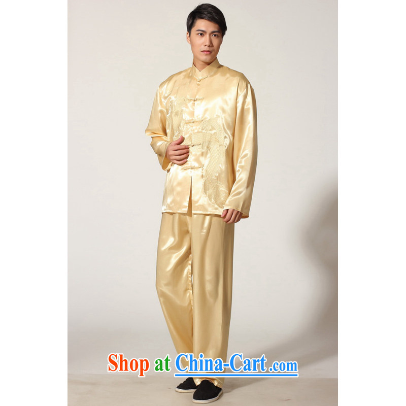 And Jing Ge older Chinese men and summer, for silk embroidered Chinese Dragon Chinese men's long-sleeved package the code men's kung fu kit M 0012 beige XXL recommendations 180 - 210 jack