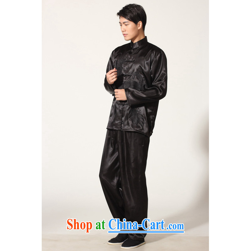 And Jing Ge elderly Chinese male Chinese improved, for silk embroidered Chinese dragon Tai Chi Kit larger male martial arts package M 0014 black XXL recommendations 180 - 210 jack