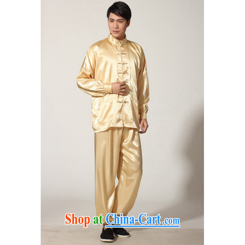 And Jing Ge聽older Chinese men and summer, for silk men's long-sleeved Kit larger male martial arts Package - D gold XXL recommendations 180 - 210 jack