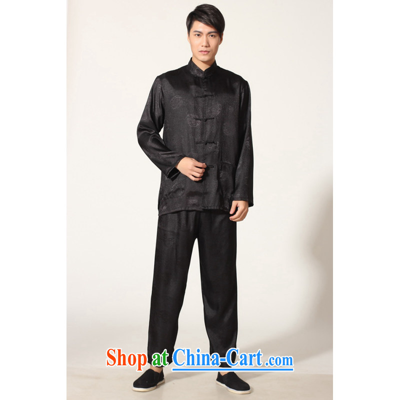 And Jing Ge older Chinese men and summer, for silk men's long-sleeved package the code men's kung fu Package - A black XXXL, Jing Ge, shopping on the Internet